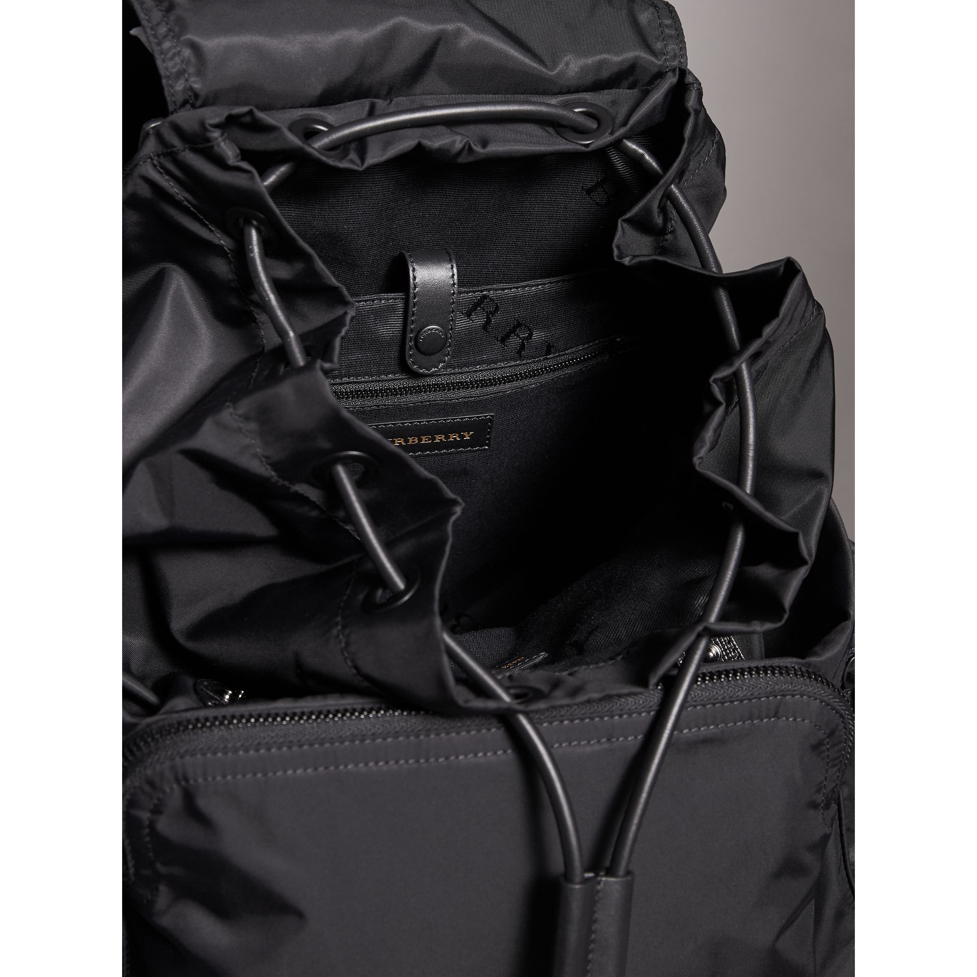 The Extra Large Rucksack in Technical Nylon and Leather in Black - Men | Burberry Canada - gallery image 5