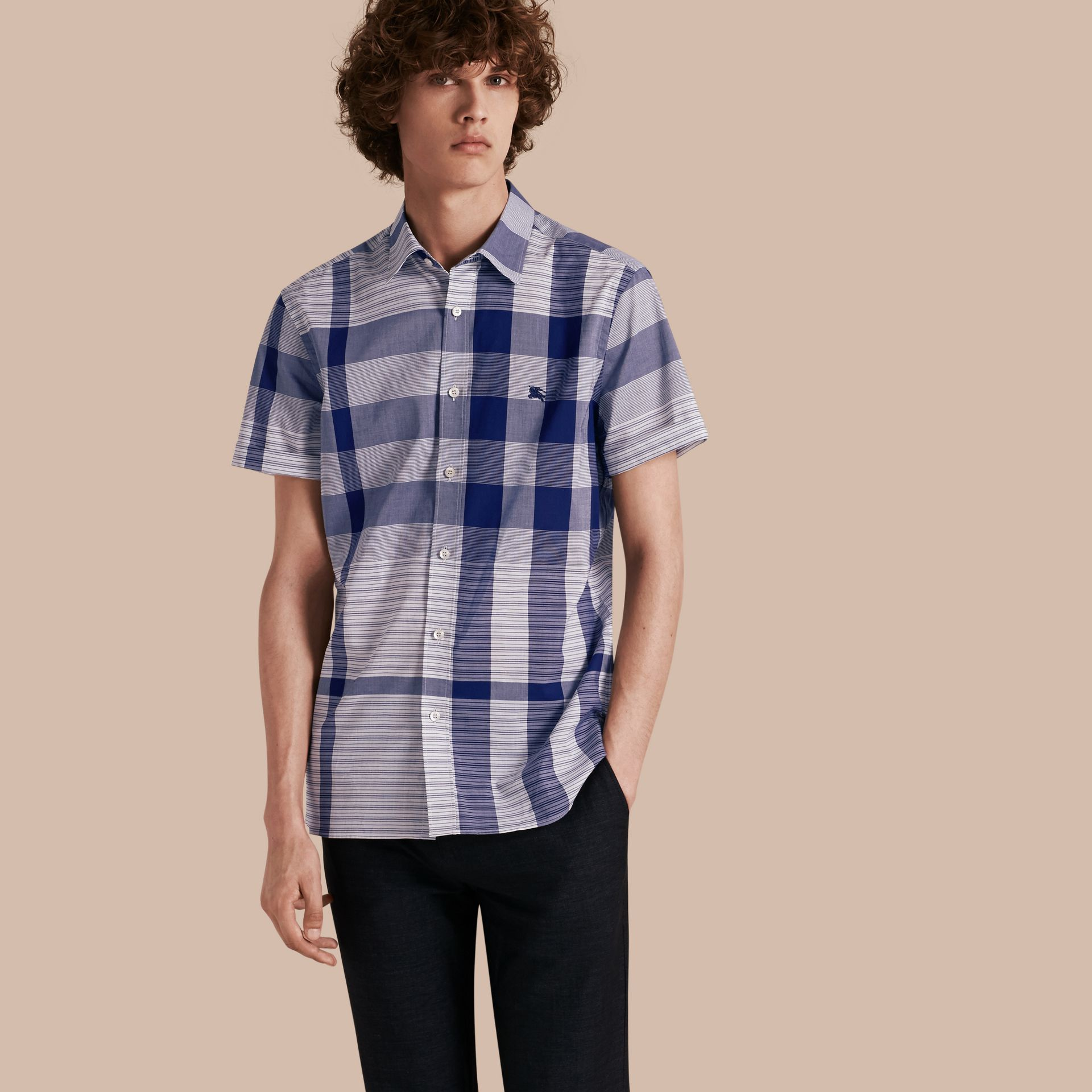 Short-sleeved Tonal Check Cotton Shirt Bright Navy - gallery image 1