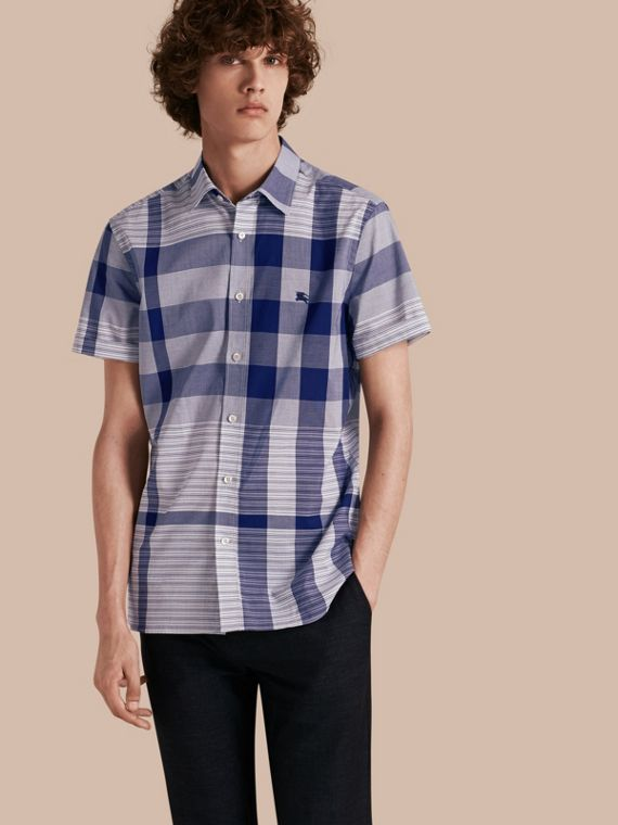 Short-sleeved Tonal Check Cotton Shirt Bright Navy