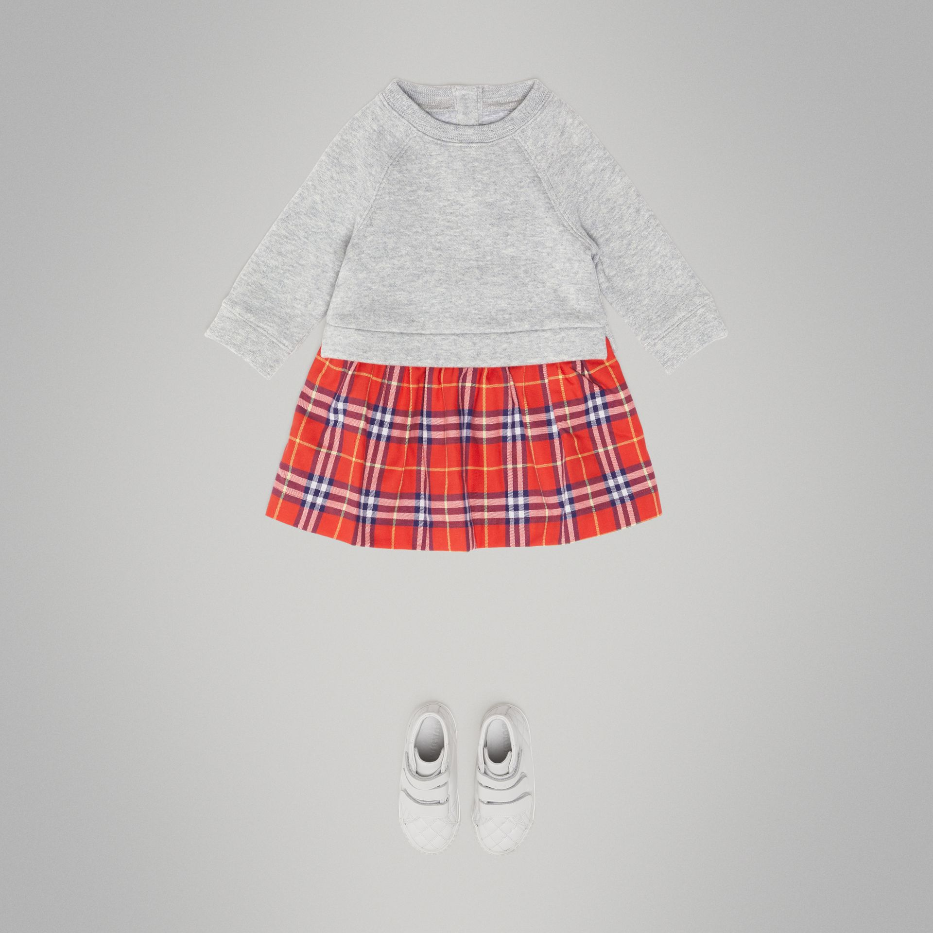 Check Cotton Sweater Dress in Orange Red - Children | Burberry - gallery image 2