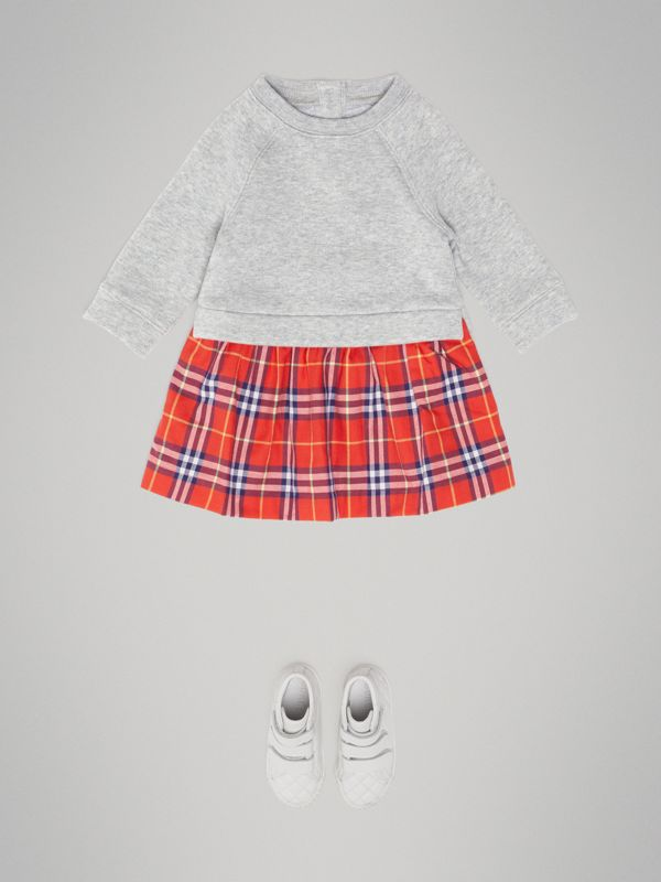 Check Cotton Sweater Dress in Orange Red - Children | Burberry - cell image 2