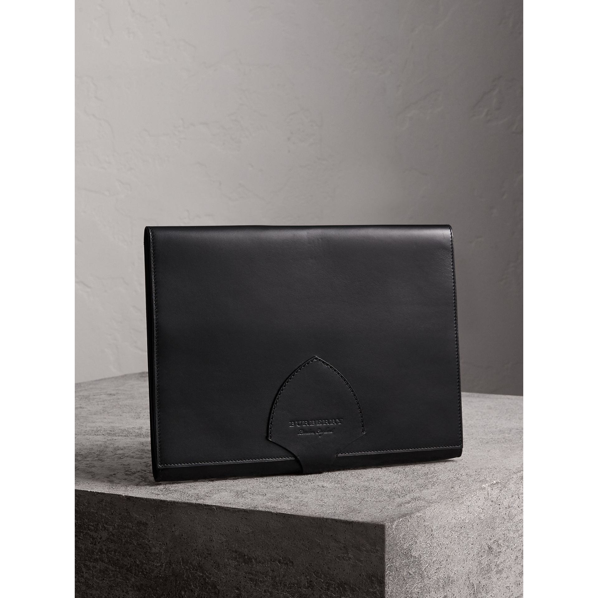 Equestrian Shield Leather A4 Document Case in Black - Men | Burberry - gallery image 4