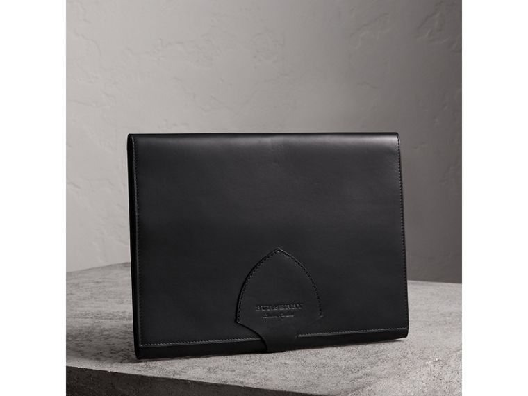 Equestrian Shield Leather A4 Document Case in Black | Burberry - cell image 4