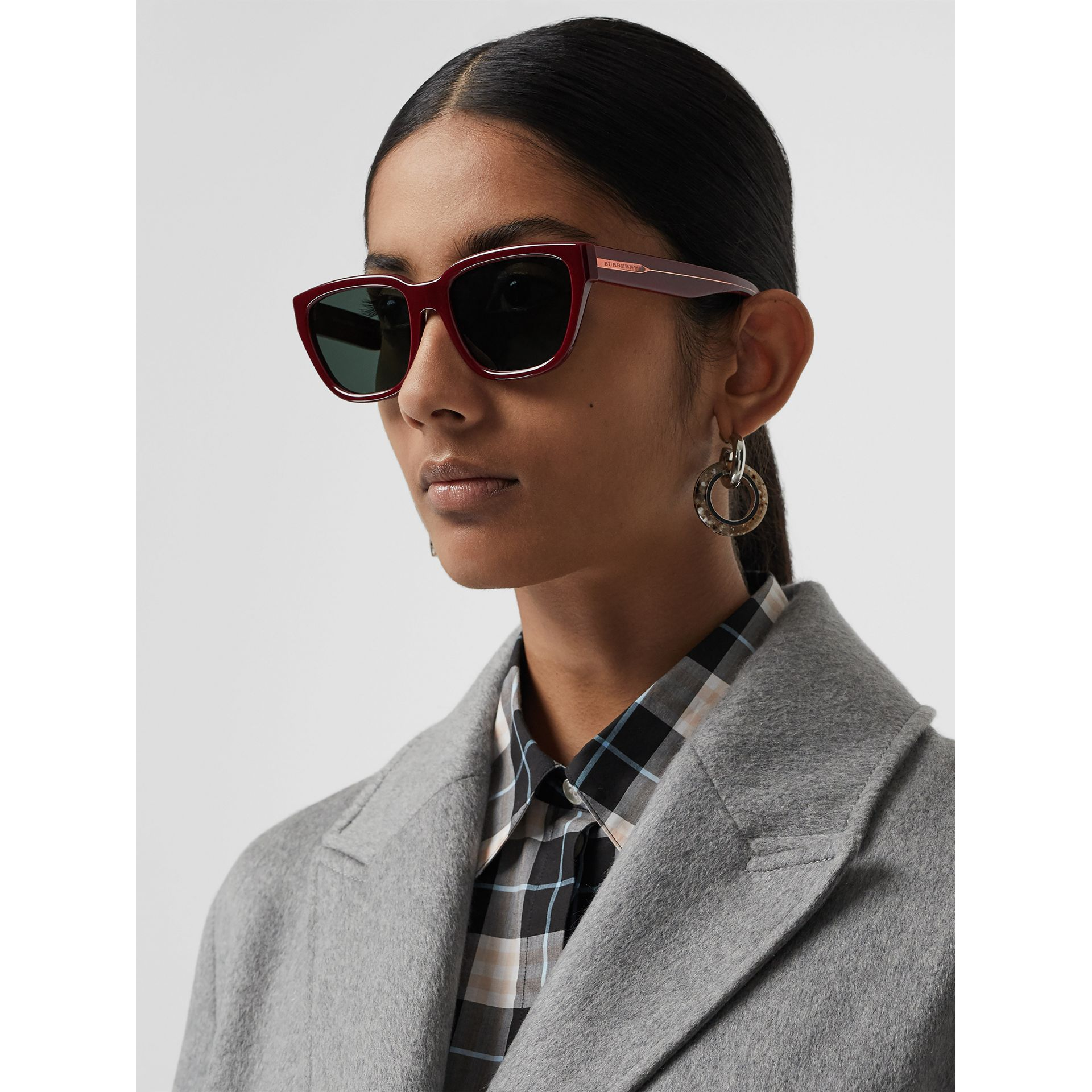 Square Frame Sunglasses in Burgundy - Women | Burberry Australia - gallery image 2