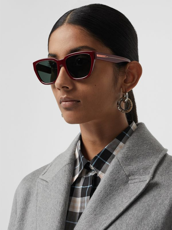 Square Frame Sunglasses in Burgundy - Women | Burberry Australia - cell image 2