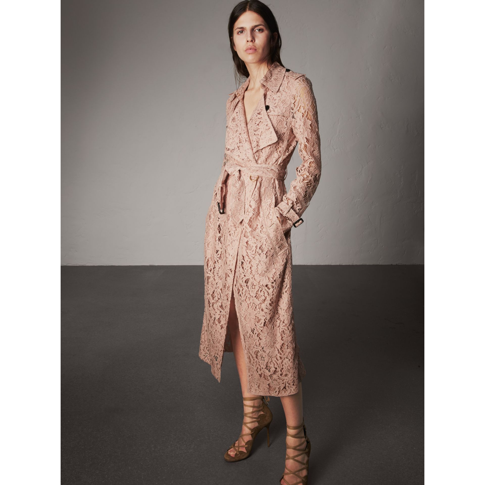 Macramé Lace Trench Coat in Pale Pink - Women | Burberry Singapore - gallery image 1