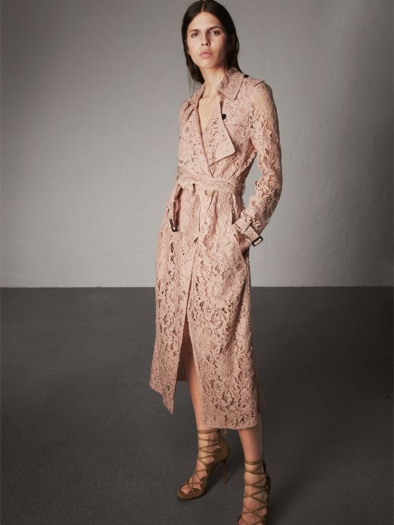 Macramé Lace Trench Coat in Pale Pink - Women | Burberry