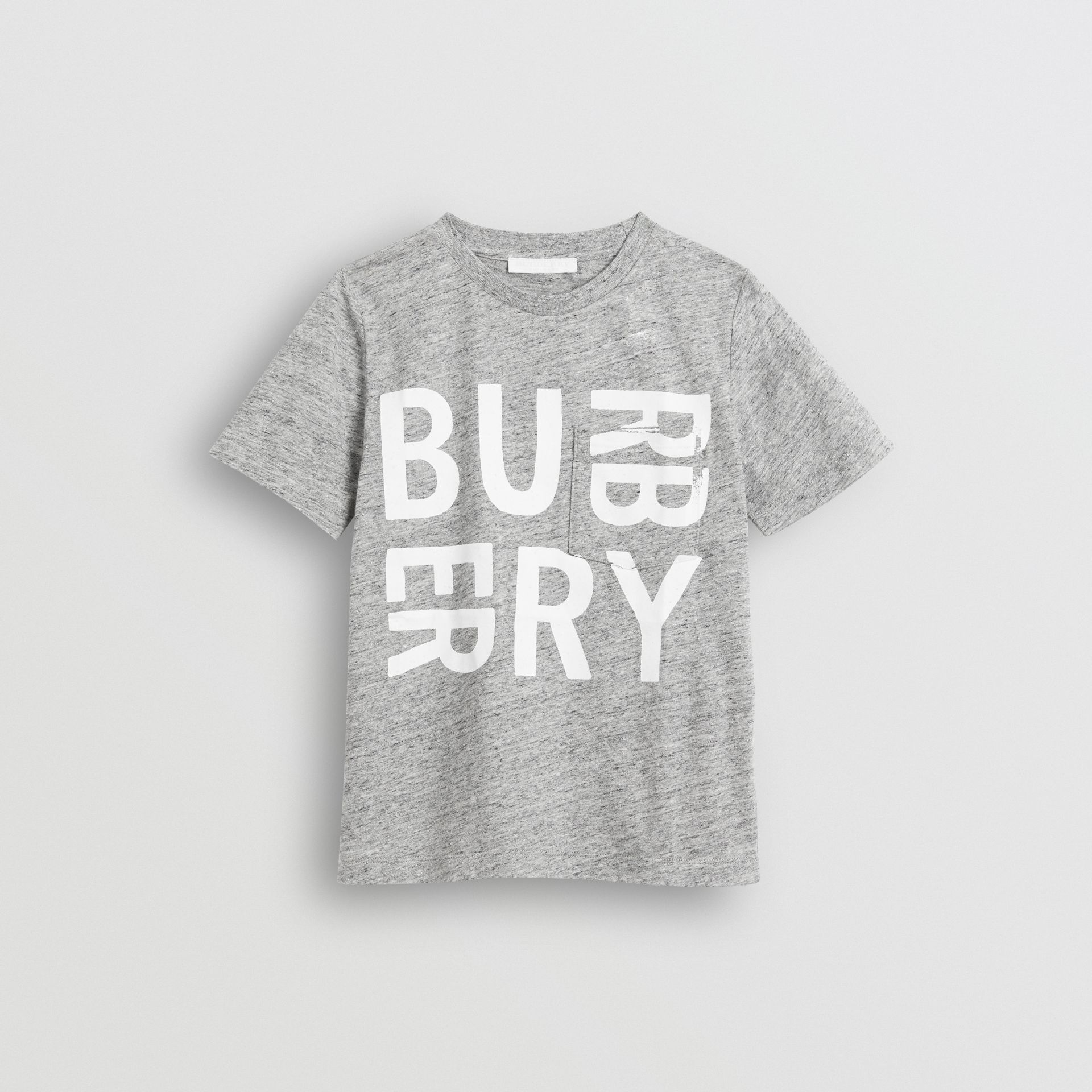 Logo Print Cotton Blend T-shirt in Grey Melange - Children | Burberry United Kingdom - gallery image 0