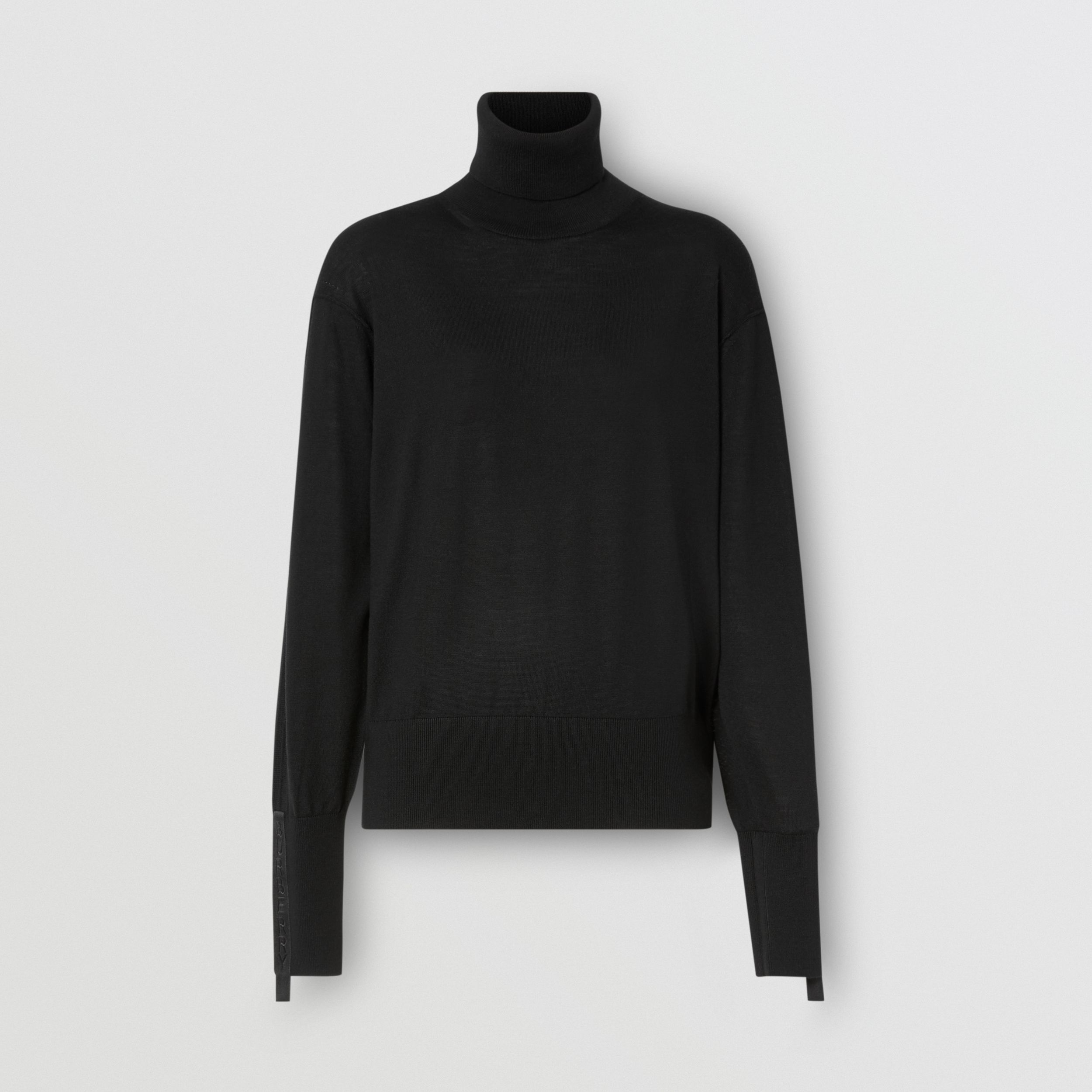 Logo Tape Merino Wool Silk Roll-neck Sweater in Black - Women | Burberry - 4