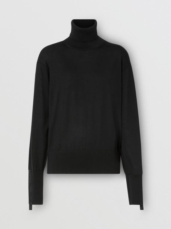 Logo Tape Merino Wool Silk Roll-neck Sweater in Black