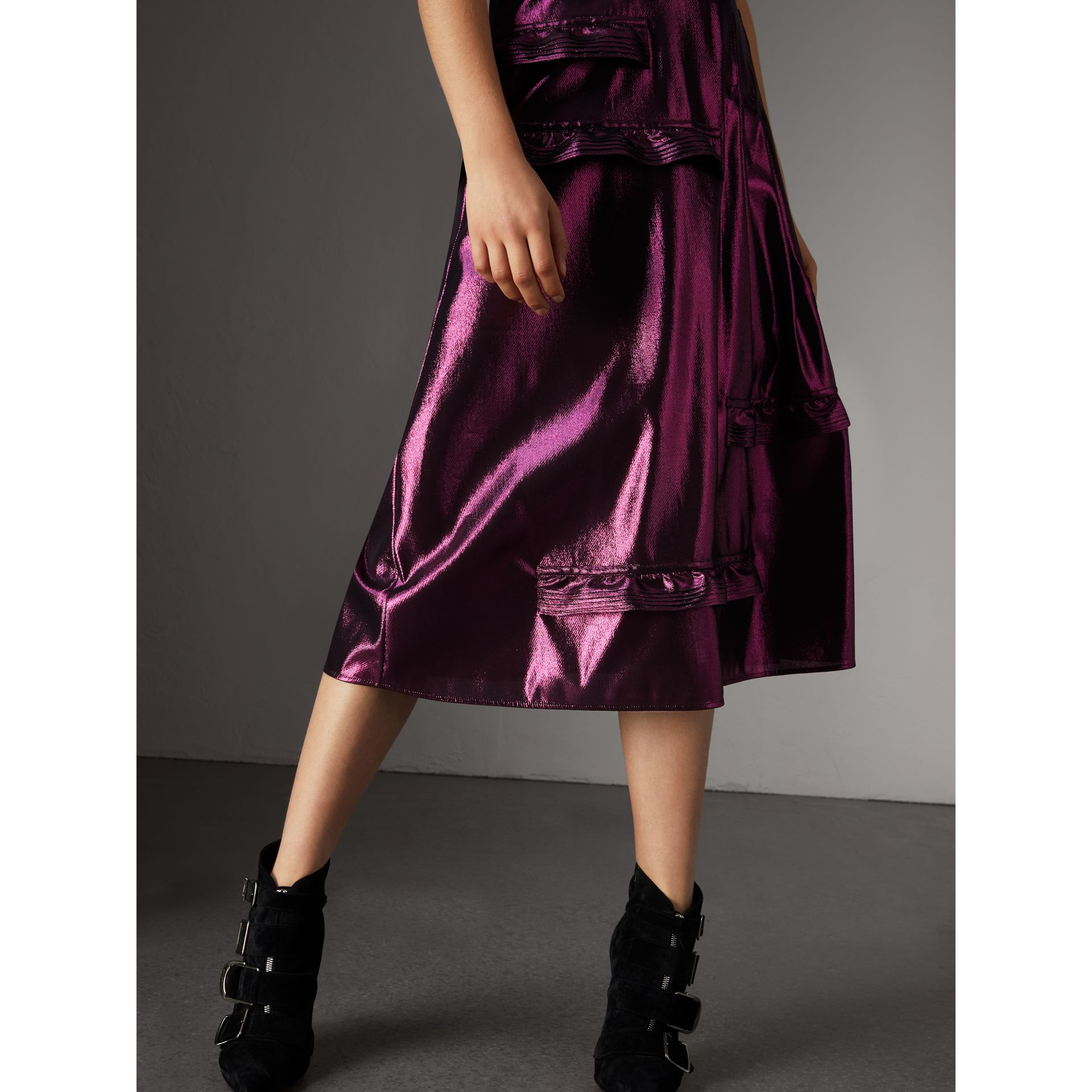 Short-sleeve Ruffle Detail Lamé Dress – Online Exclusive in Bright Fuchsia - Women | Burberry United States - gallery image 1