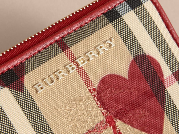 Parade red Heart Print Horseferry Check Small Ziparound Wallet - cell image 1