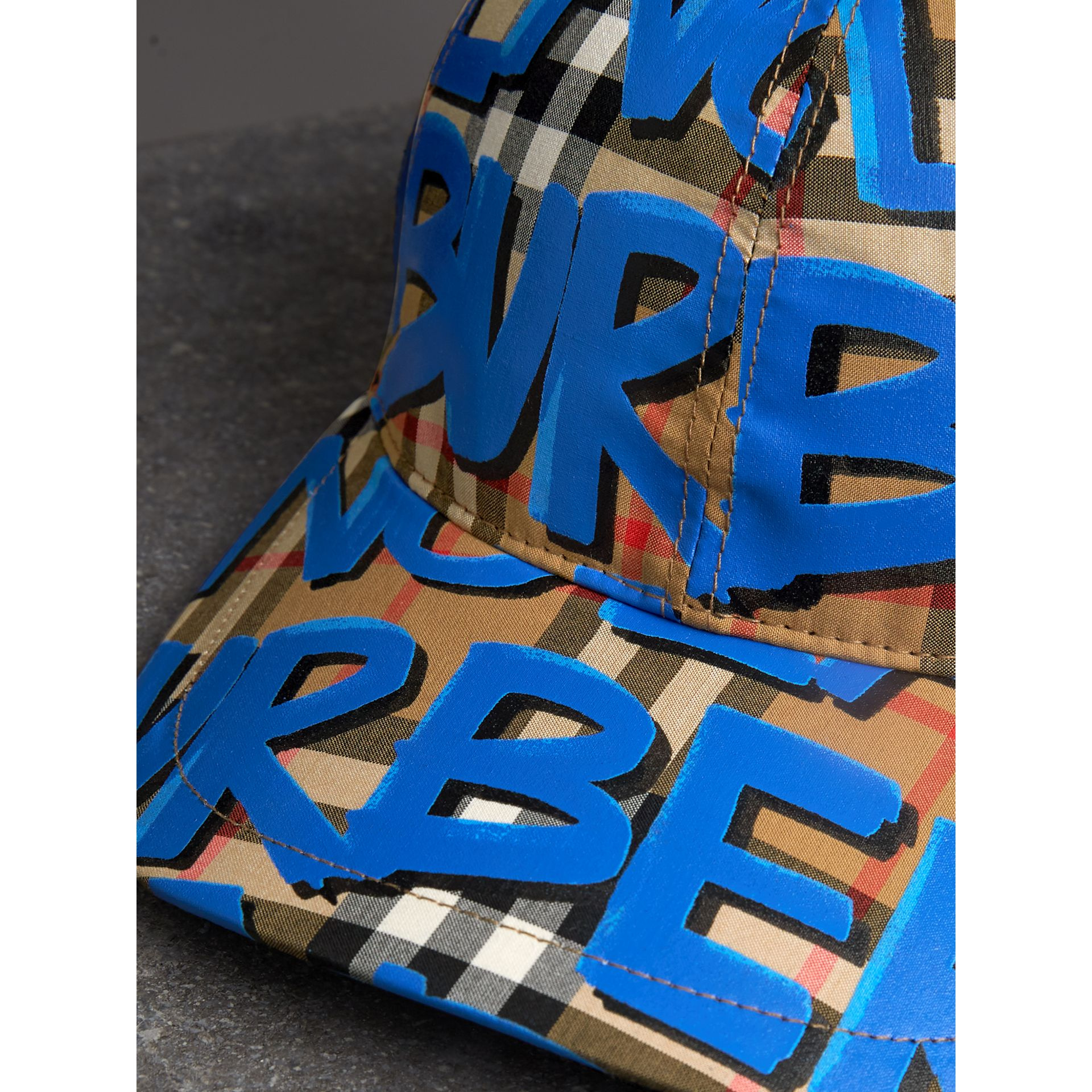 Graffiti Print Vintage Check Baseball Cap in Blue | Burberry - gallery image 1