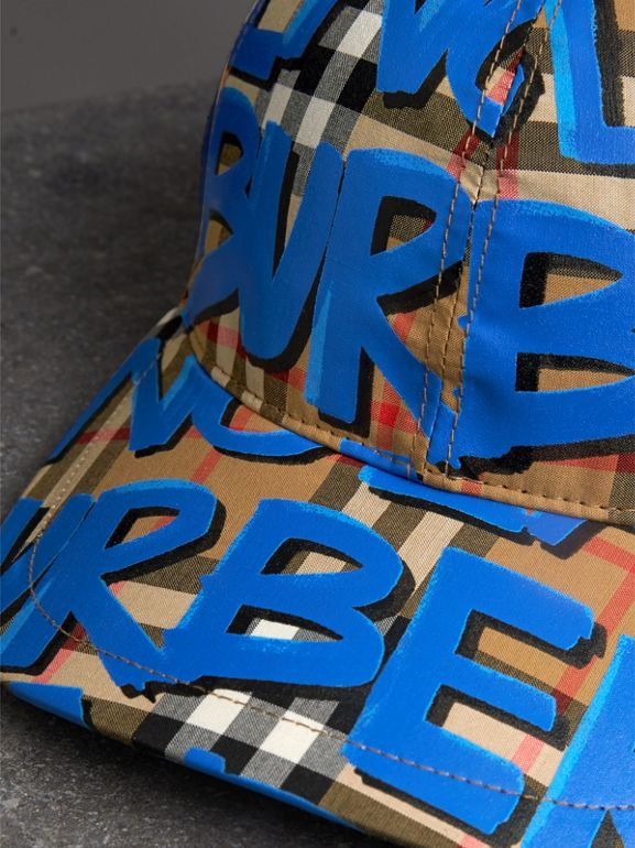 Graffiti Print Vintage Check Baseball Cap in Blue | Burberry - cell image 1