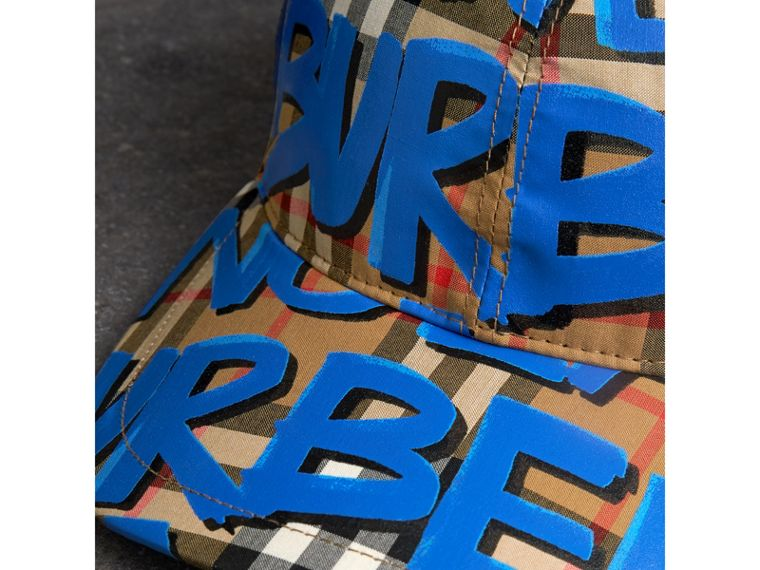 Graffiti Print Vintage Check Baseball Cap in Blue | Burberry Australia - cell image 1