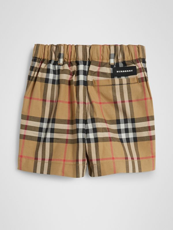 Vintage Check Cotton Tailored Shorts in Antique Yellow - Children | Burberry - cell image 3