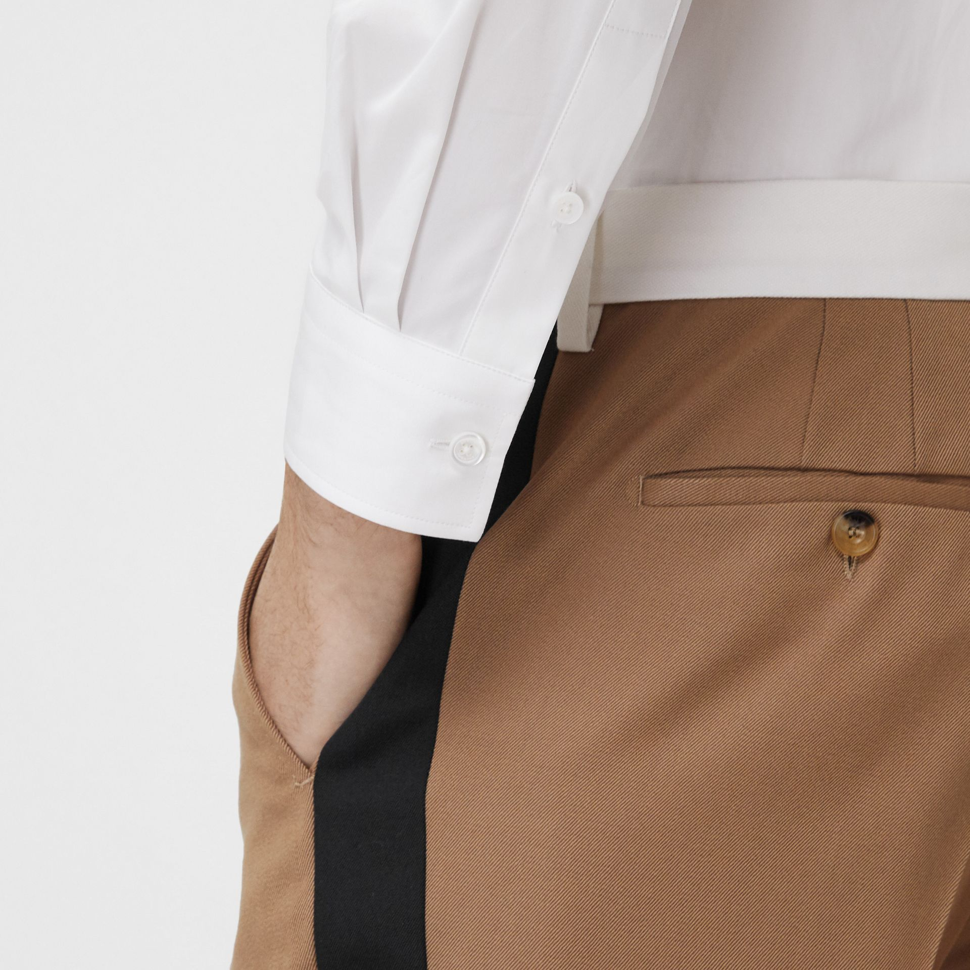 Classic Fit Side Stripe Wool Tailored Trousers in Camel - Men | Burberry Canada - gallery image 1