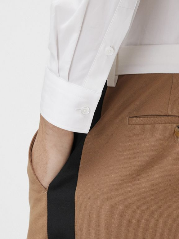 Classic Fit Side Stripe Wool Tailored Trousers in Camel - Men | Burberry Canada - cell image 1