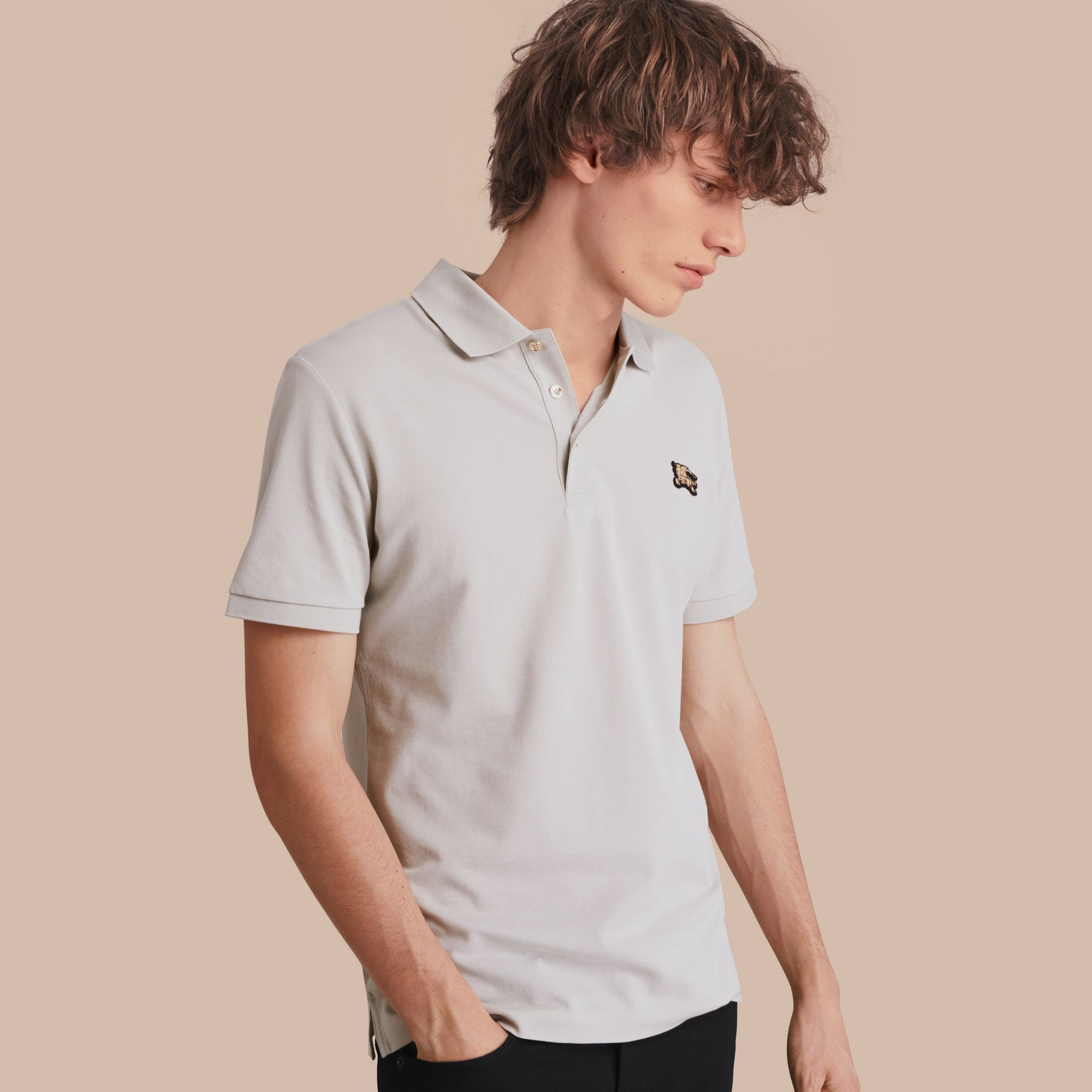 Fitted Mercerised Cotton-Piqué Polo Shirt Pale Stone - gallery image 1