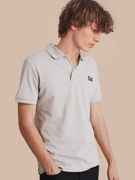 Fitted Mercerised Cotton-Piqué Polo Shirt Pale Stone