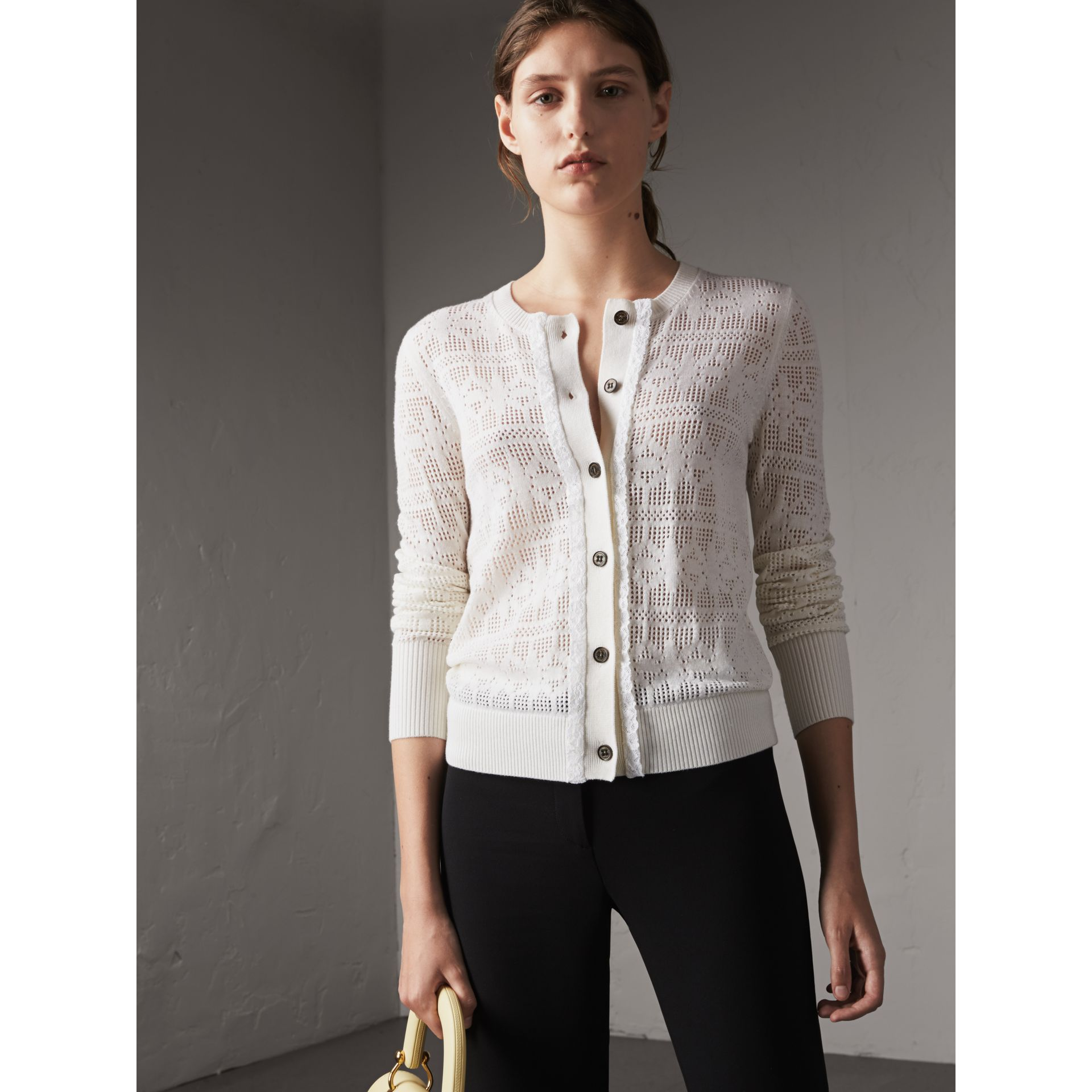 Lace Trim Knitted Wool and Cashmere Cardigan in Natural White - Women | Burberry - gallery image 5