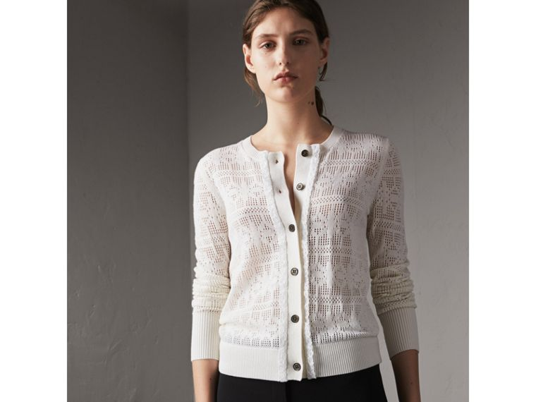 Lace Trim Knitted Wool and Cashmere Cardigan in Natural White - Women | Burberry - cell image 4