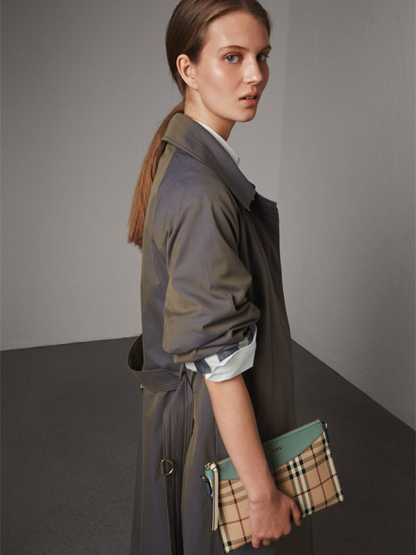 Haymarket Check and Two-tone Leather Clutch Bag in Eucalyptus Green/multicolour - Women | Burberry - cell image 3