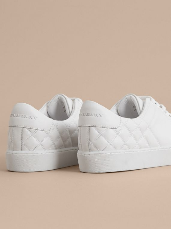 Check-quilted Leather Sneakers in Optic White - Women | Burberry Canada - cell image 3