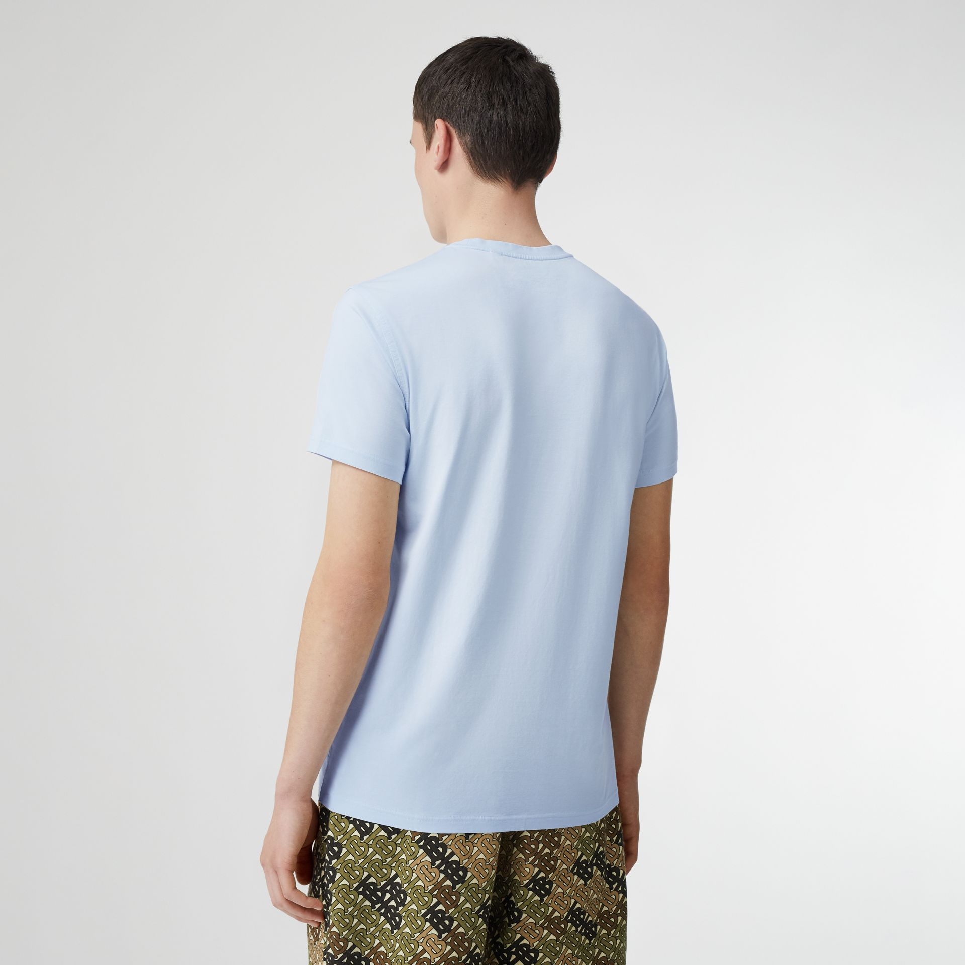 Monogram Motif Cotton T-shirt in Pale Blue - Men | Burberry - gallery image 2