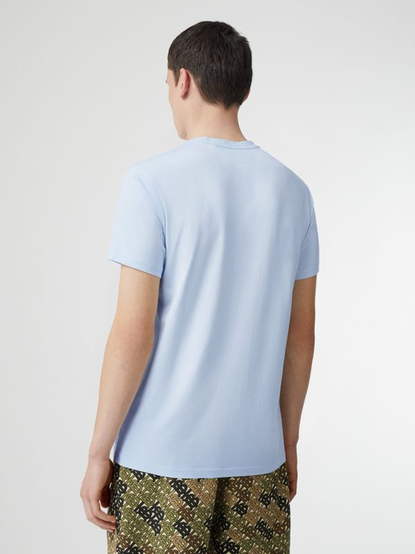Monogram Motif Cotton T-shirt in Pale Blue - Men | Burberry United Kingdom - cell image 2