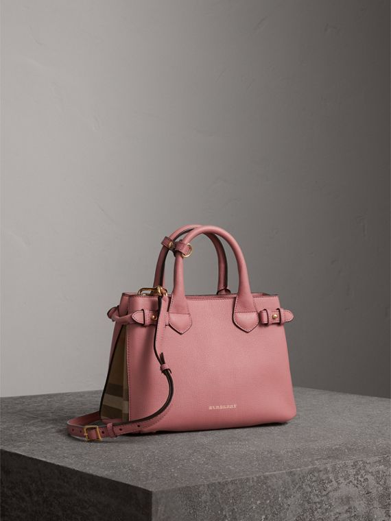 The Small Banner in Leather and House Check in Mauve Pink - Women | Burberry