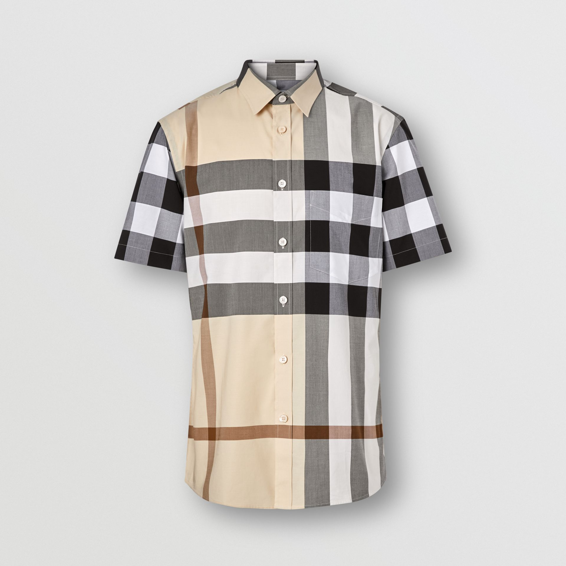 Short-sleeve Check Stretch Cotton Poplin Shirt in Modern Beige - Men | Burberry United Kingdom - gallery image 3