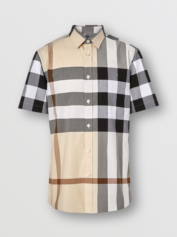 Short-sleeve Check Stretch Cotton Poplin Shirt in Modern Beige - Men | Burberry United Kingdom - cell image 3
