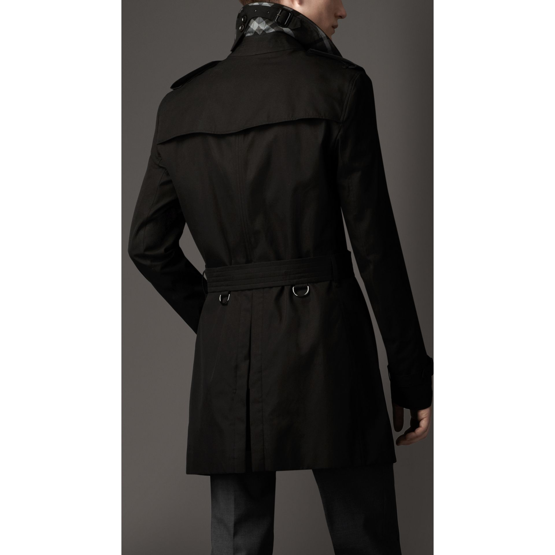 Cotton Gabardine Trench Coat in Jet Black - Men | Burberry - gallery image 2