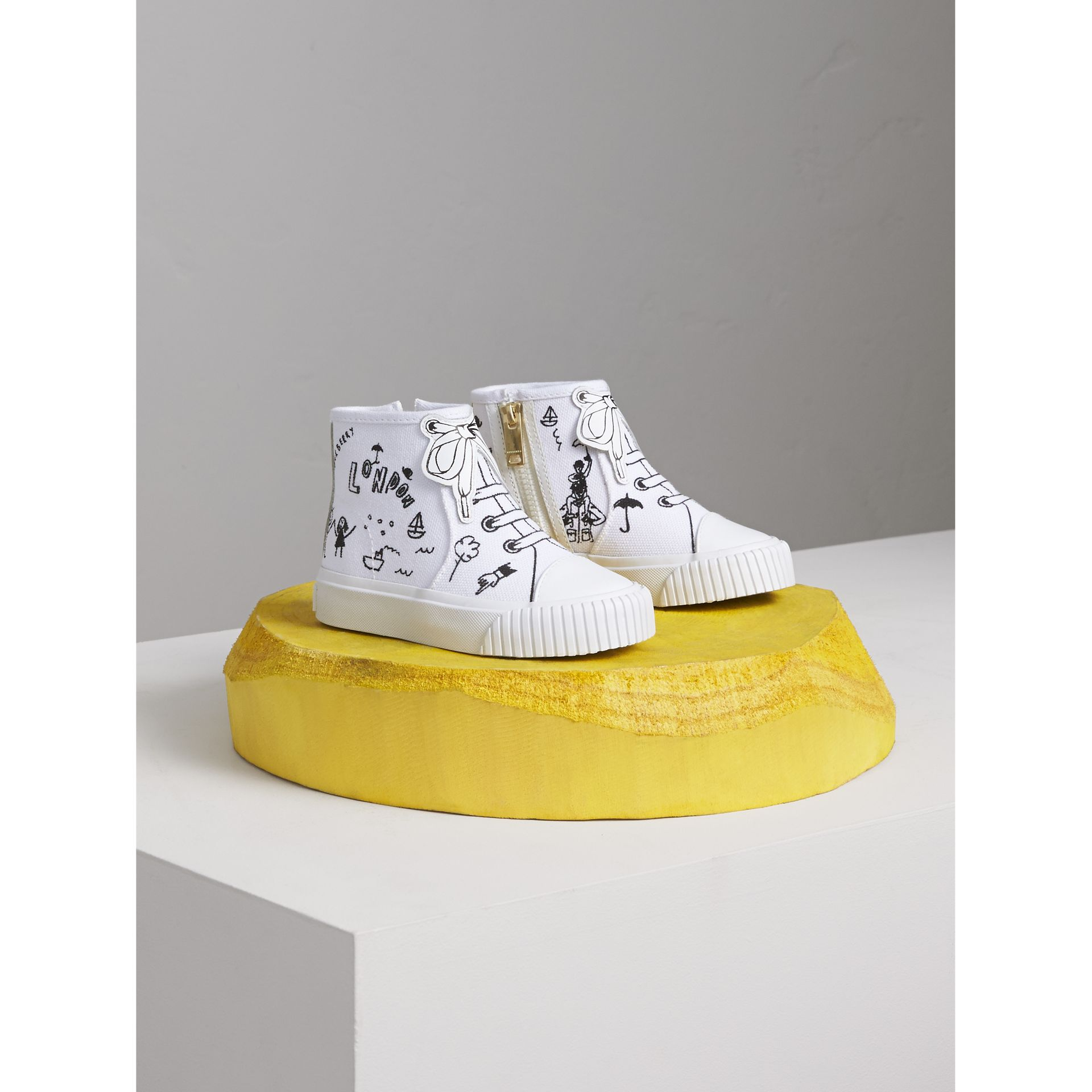Doodle Print High-top Trainers in Optic White | Burberry Australia - gallery image 1