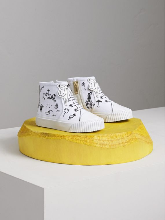 Doodle Print High-top Trainers in Optic White