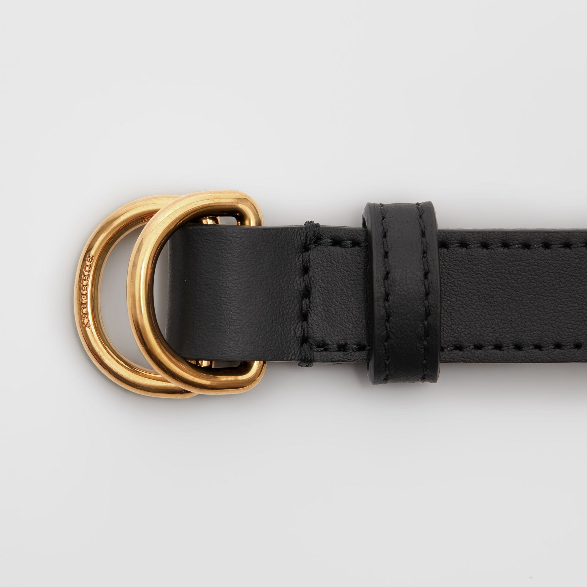 Slim Leather Double D-ring Belt in Black - Women | Burberry - gallery image 1