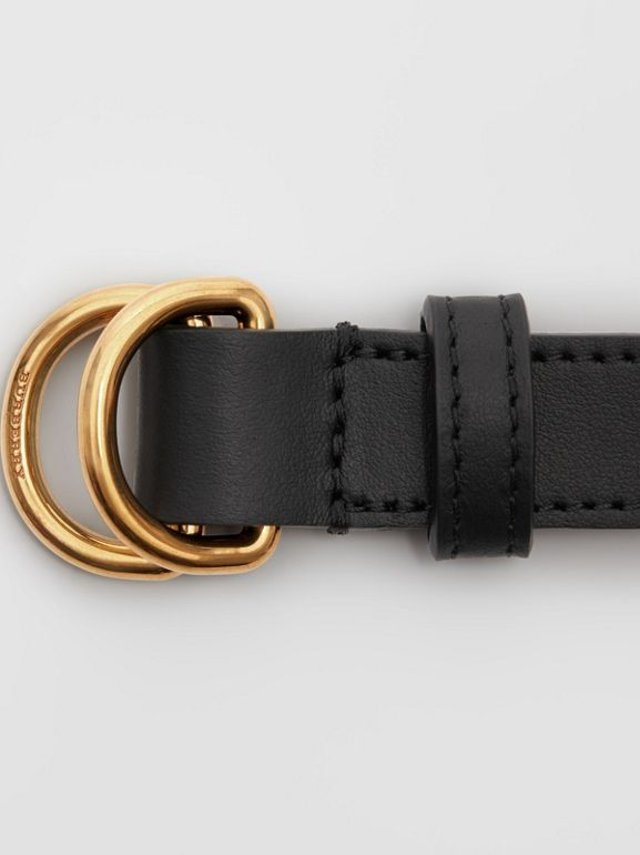 Slim Leather Double D-ring Belt in Black - Women | Burberry Canada - cell image 1