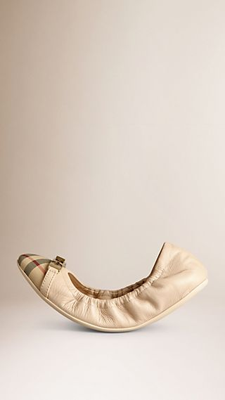 Ballerine in pelle con motivo Horseferry check
