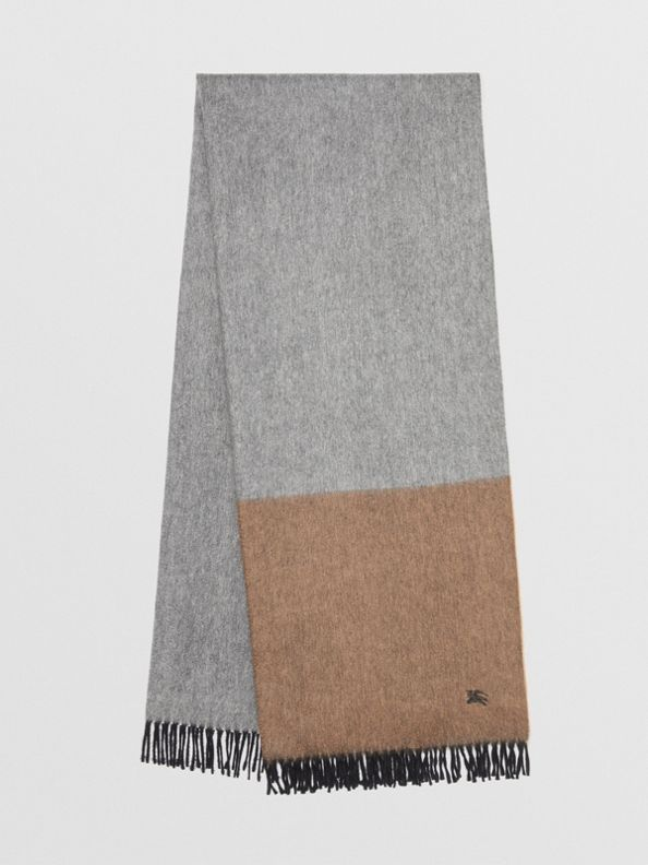 Colour Block Cashmere Scarf in Ivory