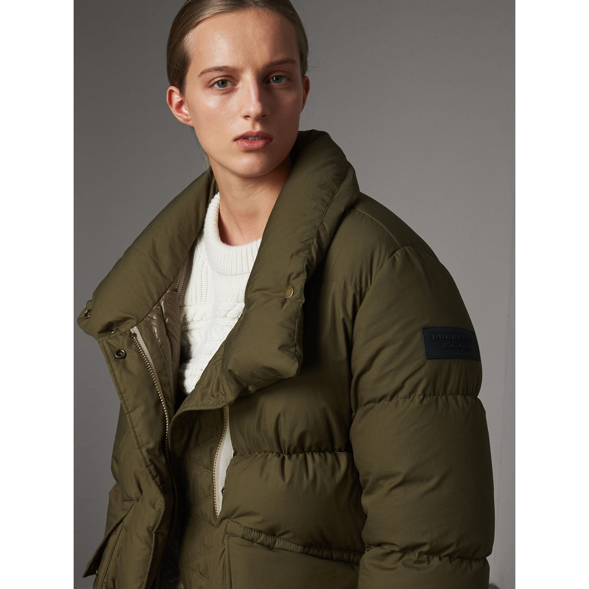 Detachable Fur Trim and Shearling Hood Puffer Coat in Olive Green - Women | Burberry Australia - gallery image 2
