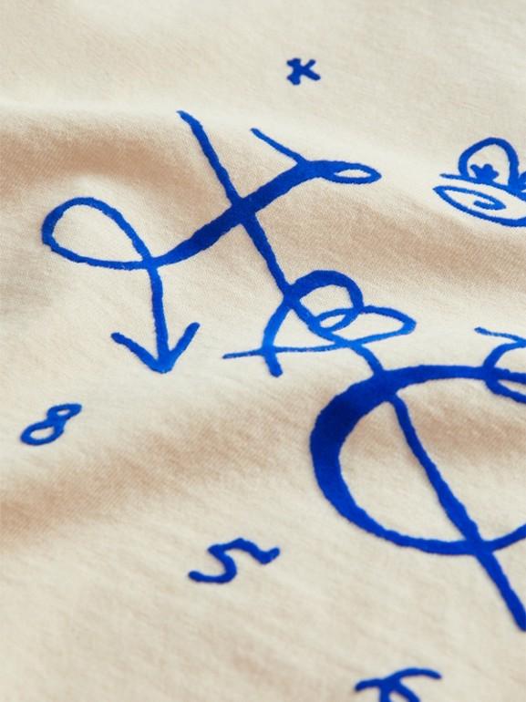 T-shirt in cotone con emblema floccato (Bianco Naturale) | Burberry - cell image 1