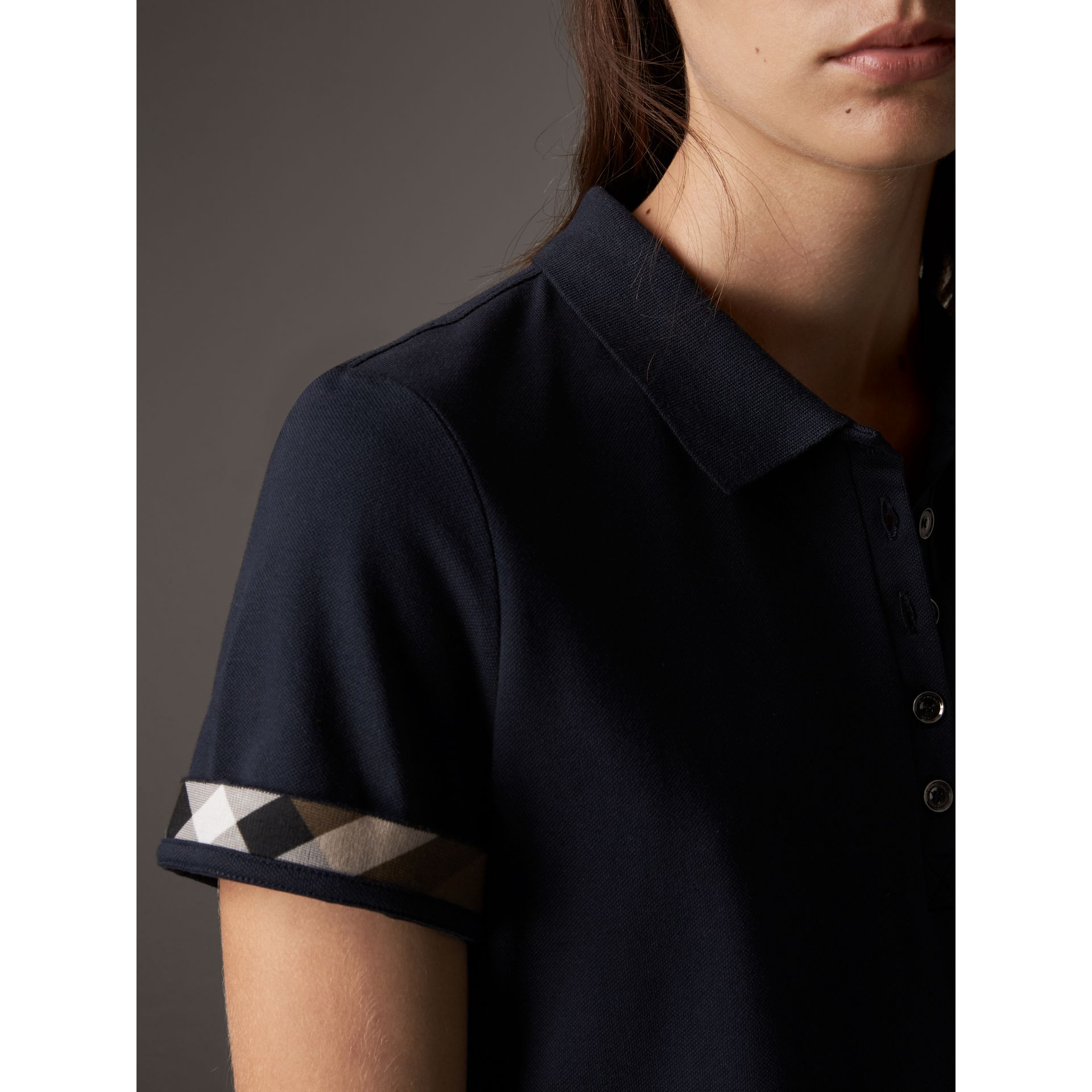 Check Trim Stretch Cotton Piqué Polo Shirt in Navy - Women | Burberry Canada - gallery image 1