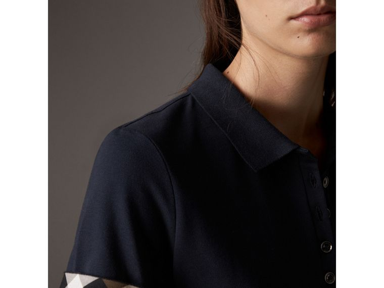 Check Trim Stretch Cotton Piqué Polo Shirt in Navy - Women | Burberry - cell image 1
