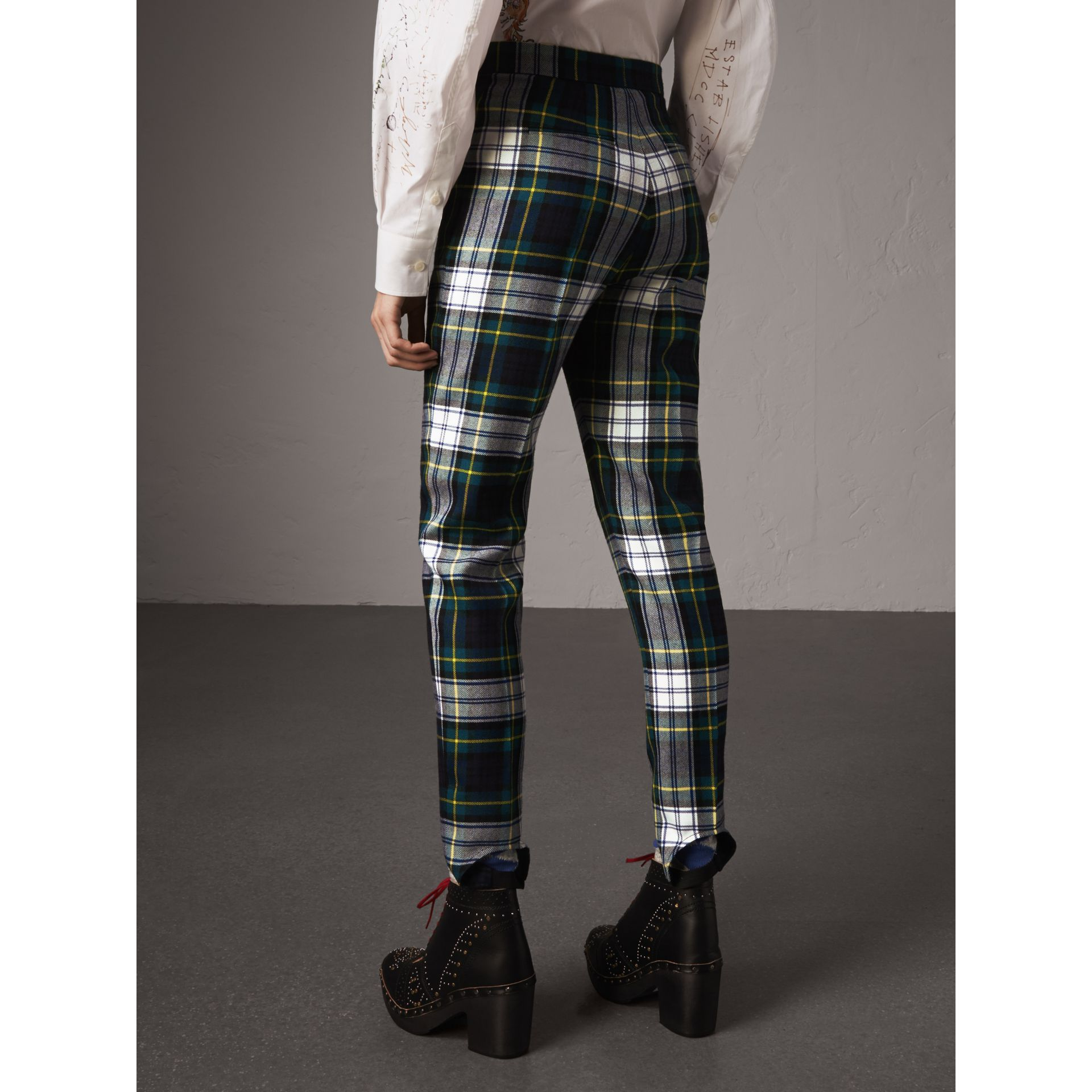 Tartan Wool High-waisted Stirrup Trousers in Ink Blue - Women | Burberry - gallery image 3