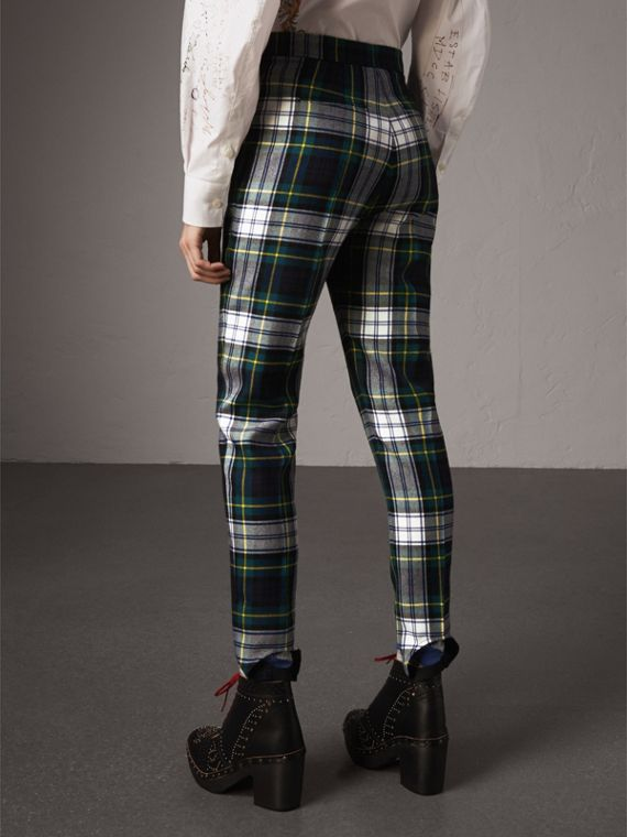 Tartan Wool High-waisted Stirrup Trousers in Ink Blue - Women | Burberry United Kingdom - cell image 2