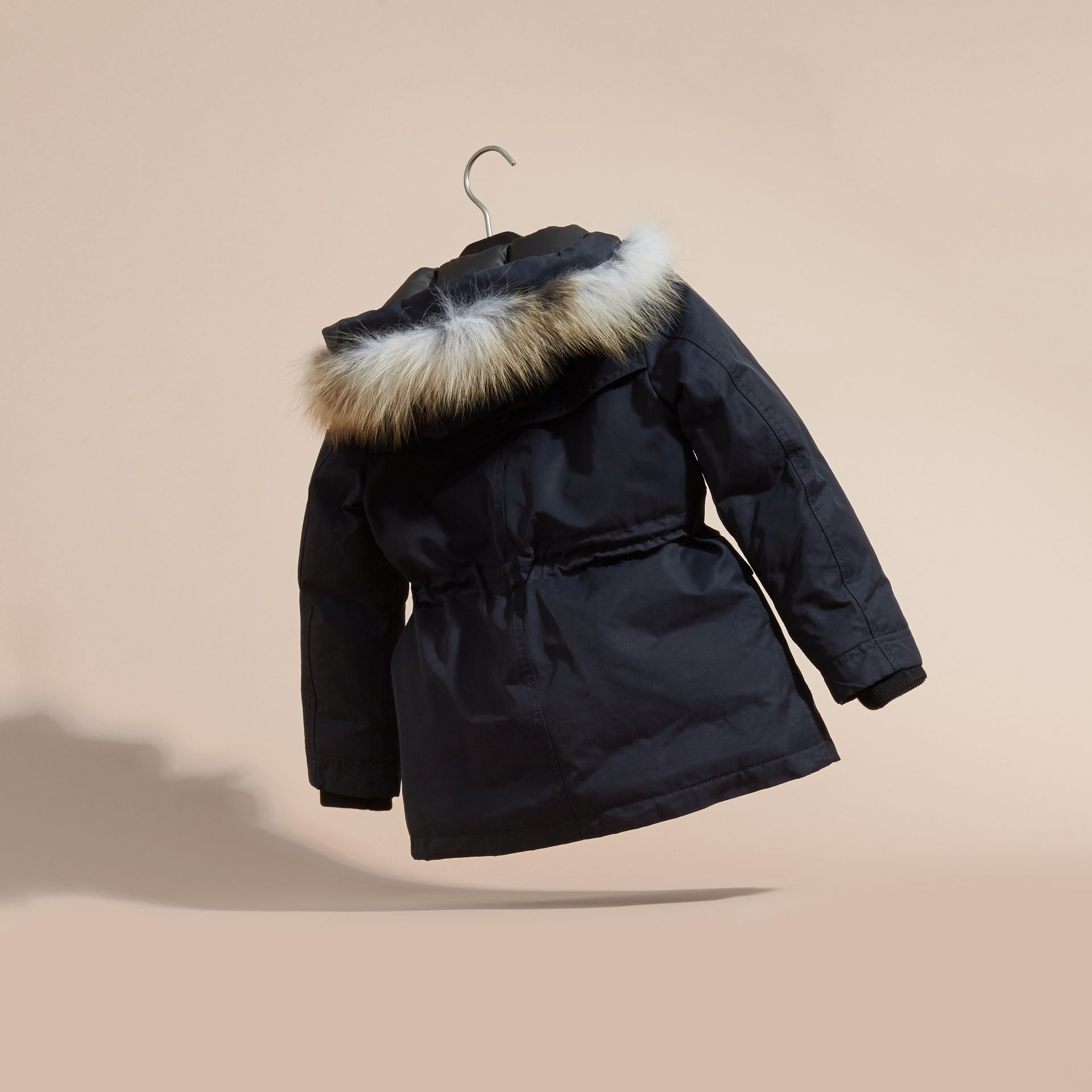 Navy Hooded Coat with Detachable Fox Fur Trim - gallery image 4