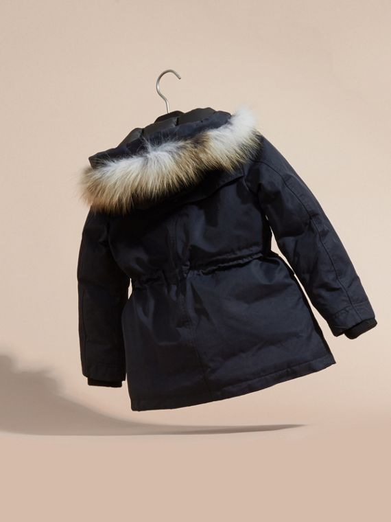 Navy Hooded Coat with Detachable Fox Fur Trim - cell image 3