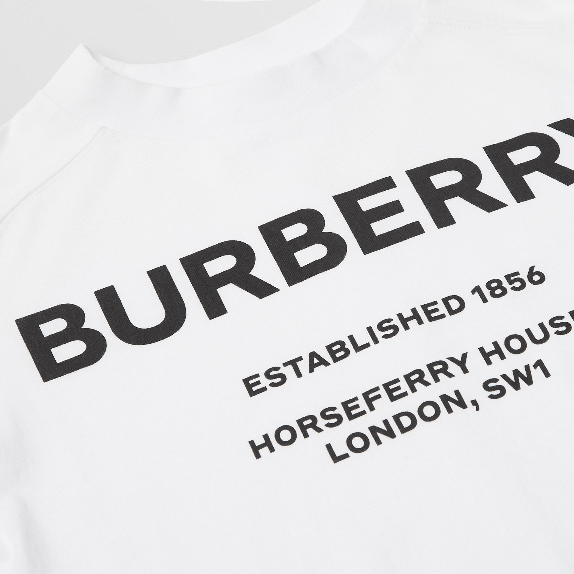 Long-sleeve Horseferry Print Cotton Top in White | Burberry - gallery image 1