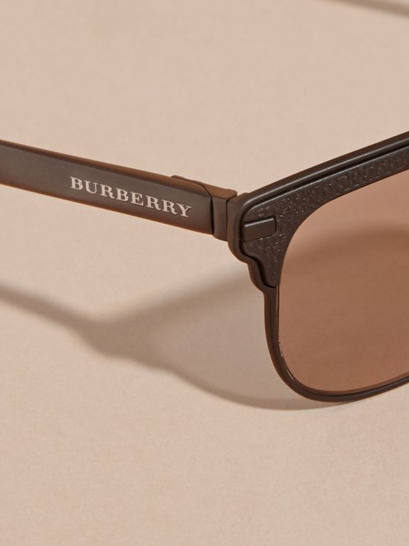 Textured Front Square Frame Sunglasses in Black - Men | Burberry Singapore - cell image 1